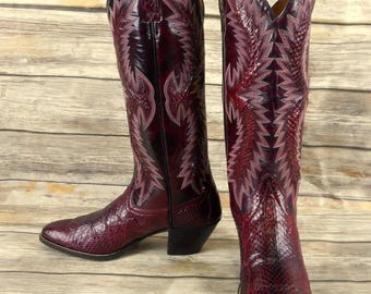 Dan Post Cowboy Boots Oxblood Snakeskin Leather Exotic Womens Size 6.5 Burgundy
