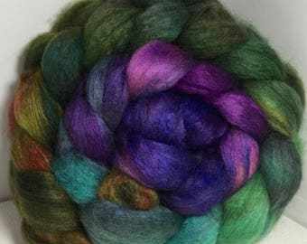 BFL Yak Bombyx Silk 50/25/25 Roving Combed Top - 5oz - Billabong Orchid 2