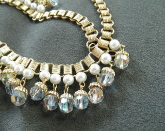 Vintage Laguna Glass Necklace with Faux Pearl and Crystal Drops, Original Box