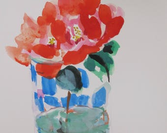 red rose painting , watercolor and gouache painting, glass vase, sensual painting, housewarming, small painting, mat and backing 4 x 6 inch