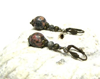 Leopard Skin Jasper Drop Earrings Black Pink Red Earrings Boho Modern gifts for her Gemstone Earrings Top Selling Jewelry Gifts for Women
