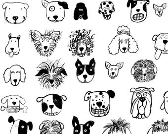 Quirky Dogs Fabric - Black And White Dogs By Littleislandcompany - Black and White Dogs Cotton Fabric By The Yard With Spoonflower