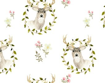 Deer Fabric - Woodland Deer Floral By Mintpeony - Deer Buck Woodland Animal Nursery Boho Baby Cotton Fabric By The Yard With Spoonflower