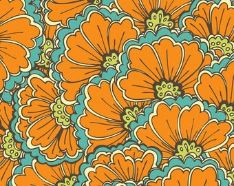 Orange Floral Frenzy Fabric - Oriental Ornament. By Veraholera - Orange Flower Home Decor Cotton Fabric By The Yard With Spoonflower