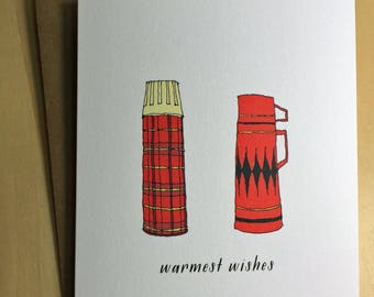 Warmest wishes - vintage thermos drawing -  holiday card - christmas card