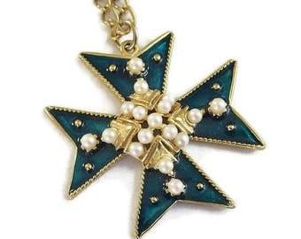 Faux Pearls & Poured Enamel Maltese Cross Pendant Necklace Vintage
