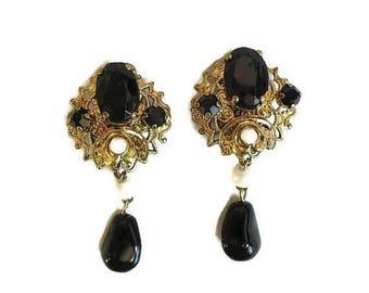 Black Rhinestone & Faux Pearl Dangle Earrings signed West Germany Vintage Filigree