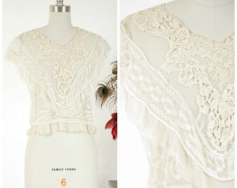 Antique Edwardian Blouse - Intricate Ivory Silk Net Embroidered Lace Blouse Altered c. 1930s