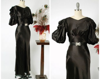 Vintage 1930s Dress -  Glamorously Glossy Jet Black Bias Cut Rayon Satin 30s Gown with Puffed Sleeves and Amazing Shoulders