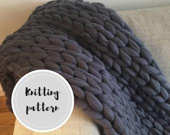 Giant knit blanket PDF pattern