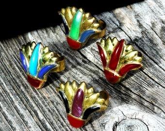 Ancient Egyptian Inlaid Brass *NEFERTITI NILE LOTUS* Adjustable Vintage Statement Ring Hand Crafted Artisan Adjustable Jewelry