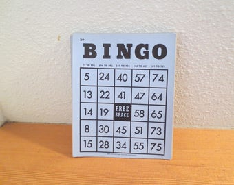 Vtg Bingo Cards / Set of 10 / Blue Cardboard Bingo Cards / 1940s Bingo Cards / Lot of 10 cards / Scrapbooking / Altered / Collage