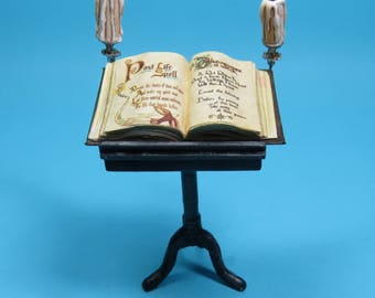 Collector Miniature 1:12 Scale  Spell Book on Stand Lit with Candles. HauntedHousewares.