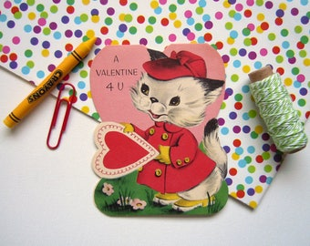 Vintage 1950 Valentine's Day Greeting Card Kitten in Red Coat and Hat