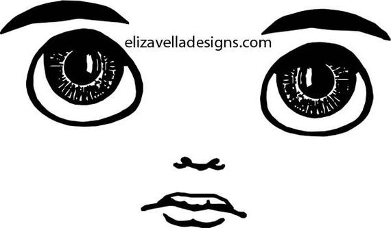 digital cute big eye boy doll face clipart png clip art graphics Image Download eyes lips JPG PNG  digital stamp black and white printables
