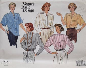 Vintage 1980's Vogue 1813 Sewing Pattern Misses' Loose-Fitting Blouse Button Up Collar Variations Vogue's Basic Design UNCUT Sz 8-10-12
