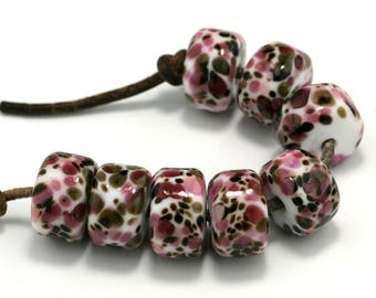 Cherry Cordial Drops Handmade Lampwork Beads by Pink Beach Studios 8 count (1568)