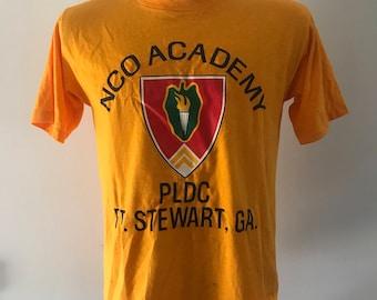 Retro Tshirt / Vintage Tshirt / 80s Tshirt / NCO Academy Tee / PLDC / Ft Stewart Georgia Tee / Soffee tee / retro soffee tee / Orange Tee