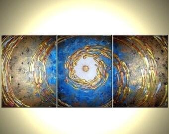 Abstact Blue Gold ORIGINAL Art, Metallic PAINTING, by Dan Lafferty - 54x24 - Sale 22% Off