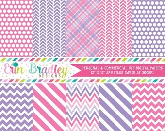 80% OFF SALE Pink and Purple Digital Paper Pack Personal & Commercial Use Instant Download