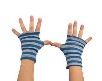 Toddler Arm Warmers in Blue and Grey Stripes - Cotton Fingerless Gloves
