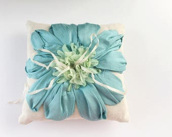 Ready to ship - Ruffles and Silk Ring Pillow - green, mint, teals, robbins egg blue.