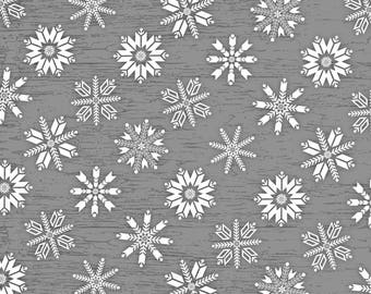 Holiday Christmas Flannel, Frosty Folks Gray/White Snowflakes by Jan Shade Beach Collection
