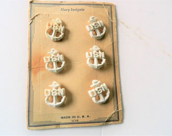 1930-40s Navy Insignia Buttons, White Navy Buttons,  Military Buttons, Vintage Buttons, Goofie Buttons