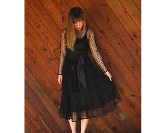 20% off SUMMER SALE. . . Black Mesh Tiered Ruffle Bow Midi Party Dress - Vintage 80s - XS