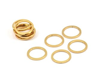 Gold Circle Rings, 12 Gold Plated Brass Round Rings, Charms (12mm) b0119