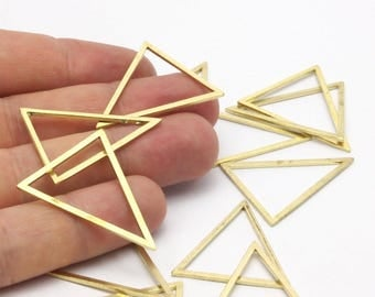 Triangle Brass Charm, 12 Raw Brass Triangles (34x34x27mm) Bs-1306
