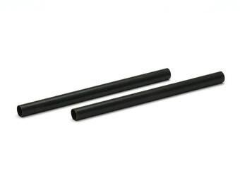 Black Tube Beads - 12 Oxidized Brass Tubes (4x60mm) Bs 1458