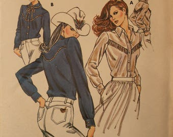 Vintage 1970s Kwik Sew Go Western Kerstin Martensson Women's Yoked Shirt 1098 FF