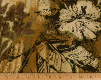 Vintage Crepe crinkle cotton fabric Large leaf and flower print in shades of brown and black 2 1/3 yard/56 in. wide Sold as one piece