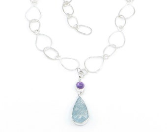 Aquamarine and Amethyst Necklace with Complementary Hand-fabricated Chain