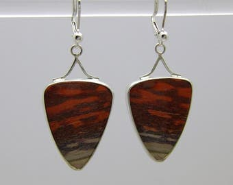 Paint Rock Triangles in Sterling Silver Lever Back earrings