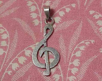 Vintage 925 Sterling Treble Clef Musical Note Pendant