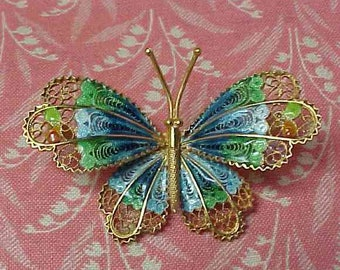 Vintage 800 Silver Filigree and Blue Green Enamel Butterfly Brooch pin