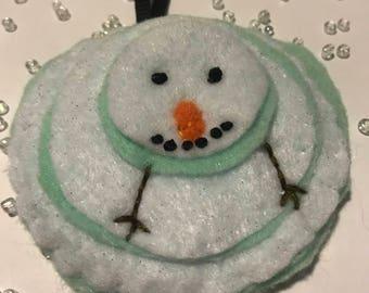 Cute Felt Melting Snowman Handmade Ornament, Gift Tag, Wall Hanging