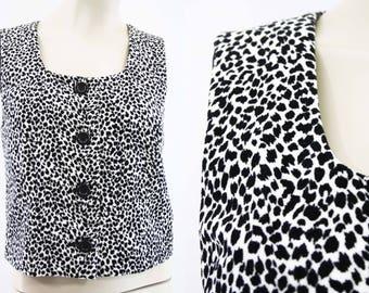 90's Express / Vest / Vintage / Black and White/ Plush /Woman's / Animal Print / Retro
