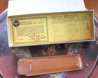 Vintage Slide Rule with Leather Case, Manual and Original Box