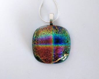 Dichroic fused glass pendant - dichroic jewelry
