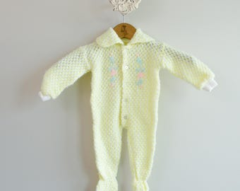 Baby's 1960s Knit Foot Pajamas Onesie Romper • Size 6-12mo
