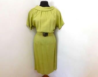 Vintage 40s Chartreuse Green Dress TALL Belt Draped Pleated WW11 Cap Sleeves Swing Lindy Dance M Medium 8 10