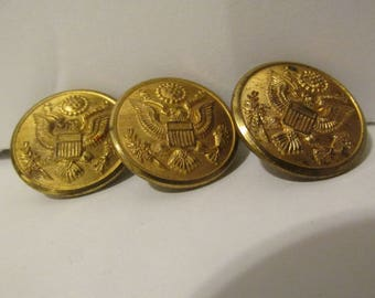 """Set of 3 Waterbury Button Co Conn Eagle Buttons Antique WWI Military Buttons 1 1/8"""" Vintage Shank Buttons Gold Brass Great Seal"""