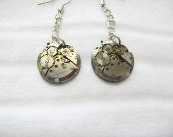 Steampunk Earrings, Identical watch works