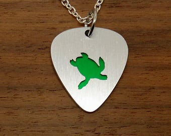 Turtle Necklace, Sea Turtle, Green Turtle, Turtle Pendant, Guitar Pick Pendant, Anodized, Keychain, Keyring, Charm Necklace, Music Jewelry
