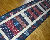 Quilted Table Runner, Patriotic Runner,  Stacked Coins Runner, Quilted Americana Runner, 12 1/2 x 42 inches