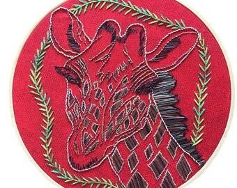 Giraffe Gift - Giraffe Art - Giraffe Wall Art - Giraffe Embroidery - Embroidery Hoop Art -Embroidery Hoop Wall Art - Hand Embroidery Designs