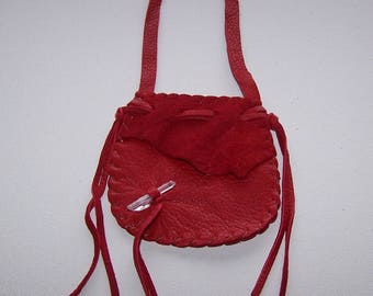 Beautiful Leather Medicine Bag / NECK BAG ..RED